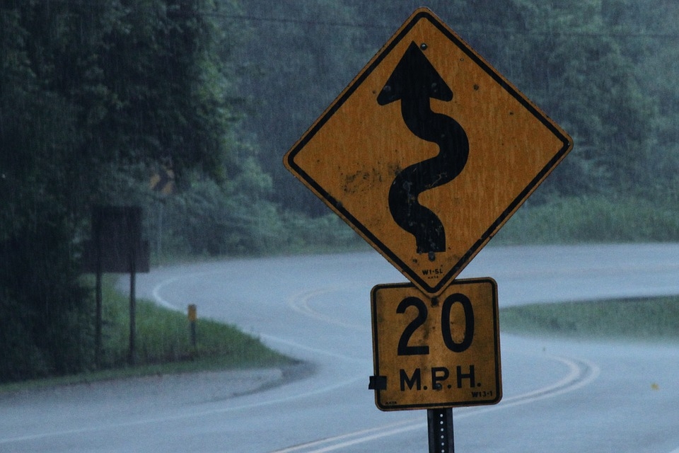 college: Windy road ahead sign
