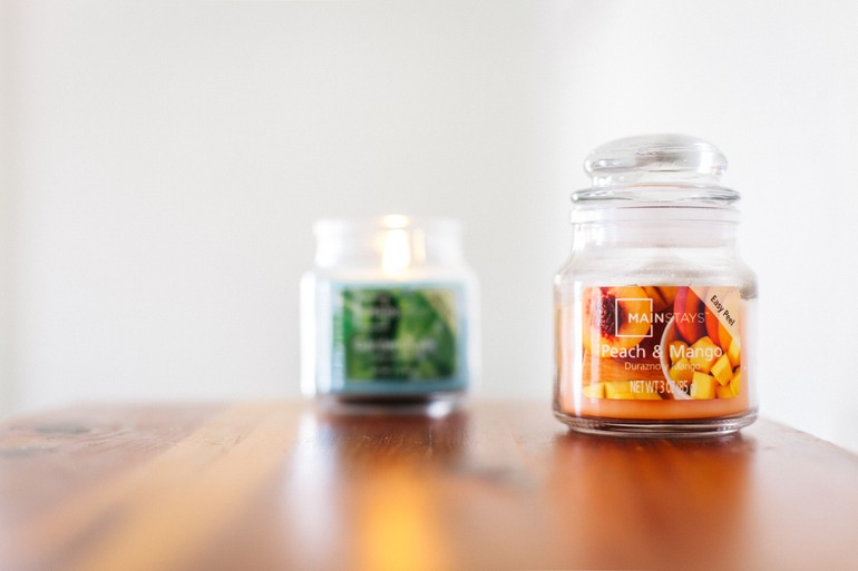 making stash jars with an old candle jar