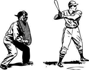 weed games umpire and batter illustration